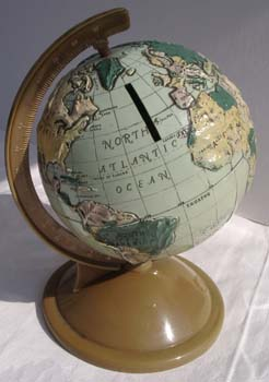 plastic commonwealth globe bank  - greaves and thomas make a diverse range of terrestrial globes, globes of the world, world globe, world globes, celestial globes, planetry globes, lunar globes, customised globes, customised world globes, customised globes of the world, paper globes