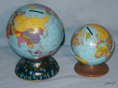 pair of ohio tin globe banks  - greaves and thomas make a diverse range of terrestrial globes, globes of the world, world globe, world globes, celestial globes, planetry globes, lunar globes, customised globes, customised world globes, customised globes of the world, paper globes