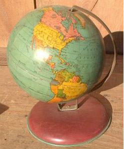 1950's - 1960's american tin globe  - greaves and thomas make a diverse range of terrestrial globes, globes of the world, world globe, world globes, celestial globes, planetry globes, lunar globes, customised globes, customised world globes, customised globes of the world, paper globes